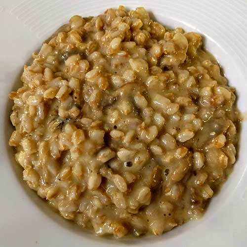 farro risotto, farrotto with mushrooms